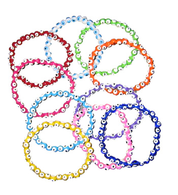Party Pack Handpainted Plastic Beaded Evil Eye Stretch Bracelets 10 Pieces