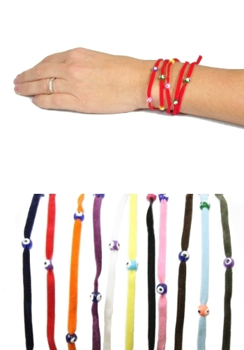 Velvet Wrap Around Evil Eye Bracelet Various Colors 1 Pc