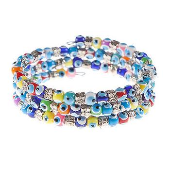 Evil Eye Wrap Around Bracelet Multi Color 1 Pc
